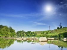 Free Small River And Hills By Summer. Royalty Free Stock Photos - 19806348