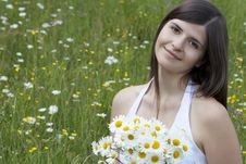 Free Beautiful Girl With Flowers Stock Photography - 19806542
