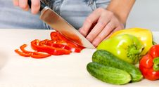 Free Closeup Woman Cooking Salad Stock Image - 19806571