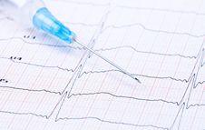 Free Syringe On ECG. Stock Photo - 19807010