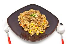 Fried Rice With Pork And Vegetable Stock Photography