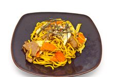 Japanese Food Style , Noodle In  The Plate Stock Images