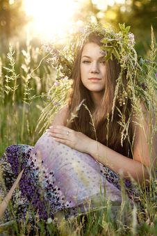 Free Woman Sitting On Grass In Park Stock Image - 19807581
