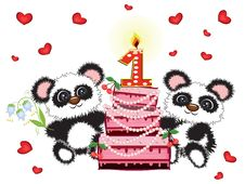 Free First Birthday Card Royalty Free Stock Photography - 19809317