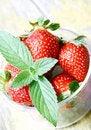Free Mint Leaf On Fresh Strawberries Stock Photos - 19810053