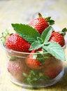 Free Mint Leaf On Fresh Strawberries Stock Photos - 19810083