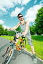 Free Young Man Cyclist Stock Images - 19816664