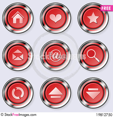 Free A Set Of Round Internet Buttons Stock Photo - 19812750