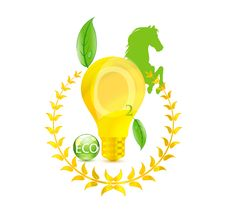 Free Eco Gold Bulb And Green Leafs Sign Royalty Free Stock Image - 19811816