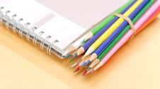 Free Colored Pencils With Art Book Royalty Free Stock Photo - 19811945