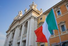 Free Roman Church With Italian Flag Stock Photography - 19813452