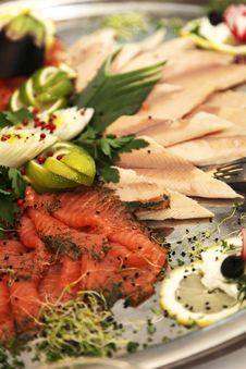 Fish Plate With Different Kinds Of Fish Royalty Free Stock Photo