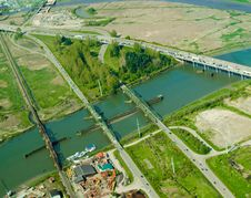 Four Bridges Aerial Stock Photo