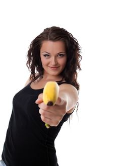 Free Young Woman Shoot With Banana Gun Stock Photography - 19815102