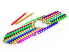 Free Pencils Laid Out In The Shape Of A Heart Royalty Free Stock Images - 19818629