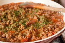 Minced Meat In The Pan Royalty Free Stock Photo