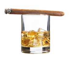 Free Whiskey With Ice And Cigar, Isolated On White Royalty Free Stock Image - 19819556
