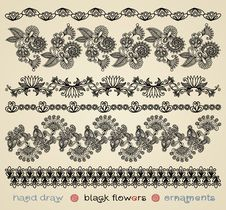 Free Black Flowers Ornaments Royalty Free Stock Photography - 19819977