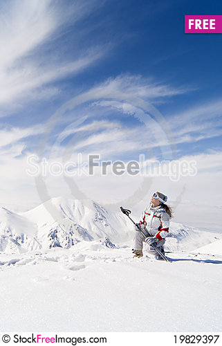 Free Beautiful Skier On The Top Of Mountain Ejder Royalty Free Stock Photography - 19829397
