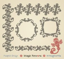 Free Black Flowers Ornaments Royalty Free Stock Photos - 19820068