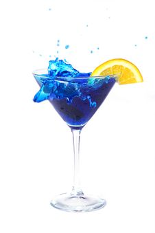Free Blue Cocktail With Splashes And Orange Royalty Free Stock Photo - 19820635