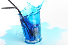 Free Blue Cocktail With Splashes Isolated On White Stock Photo - 19820720
