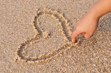 Free Writing Heart On Beach Royalty Free Stock Photography - 19821027