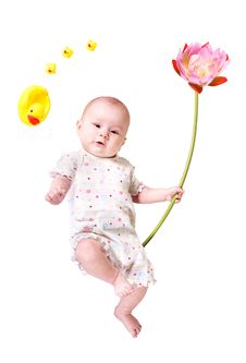 Free Baby With Big Flower And Toy Ducks Isolated Royalty Free Stock Image - 19821256