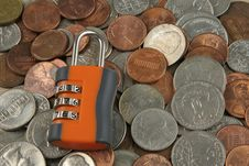 Free Dial Combo Lock On Coins Stock Images - 19822914