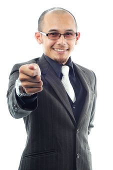 Free Bussinesman Appoint His Fingers With Smile Stock Photo - 19824830