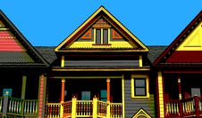 Free Pop Art Victorian House Tops Stock Images - 19825524
