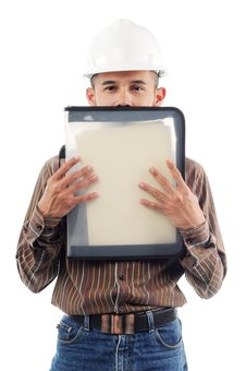 Free Workers Hiding Behind His Performance File Royalty Free Stock Photography - 19825617