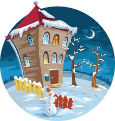 Free Winter House With Illuminated Windows. Moon, Trees Stock Image - 19825901