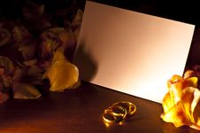 Free White Card With Wedding Rings Royalty Free Stock Photos - 19826448