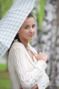 Free Young Woman With Umbrella Stock Photography - 19826602