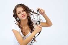 Free Pretty Girl Doing Her Hair Stock Photography - 19826912
