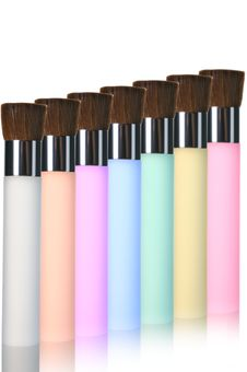 Free Multicolor Makeup Brushes Royalty Free Stock Images - 19826989