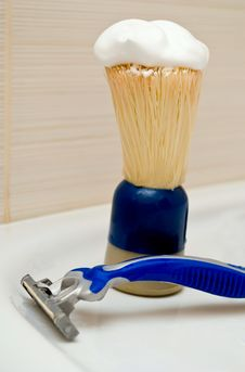 Razor And Shaving Brush Royalty Free Stock Image