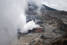 Smoking Volcano Crater In Costa Rica Royalty Free Stock Images