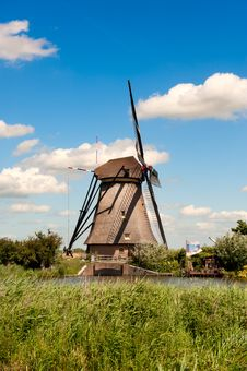 Windmill Landscape At Kinderdijk The Netherlands Stock Photo