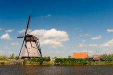 Windmill Landscape At Kinderdijk The Netherlands Royalty Free Stock Photography