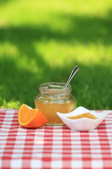 Free Jar Of Orange Jam Royalty Free Stock Photo - 19829305