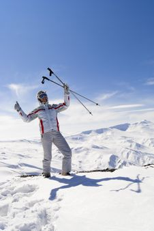 Free Beautiful Skier On The Top Of Mountain Royalty Free Stock Photos - 19829388