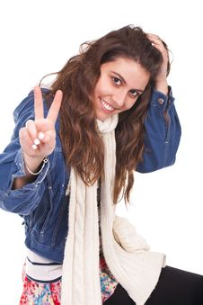 Free Woman Doing The Victory Sign Stock Images - 19829804