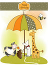 Free Irthday Greeting Card With Animals Royalty Free Stock Photos - 19832688