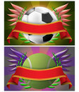 Free Soccer And Tennis Banner Royalty Free Stock Photos - 19837878