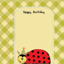 Free Birthday Card With Ladybug Stock Photography - 19832252