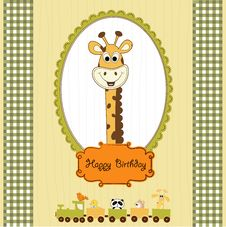 Birthday Greeting Card With Giraffe Stock Photography