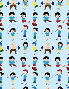 Free Cartoon Sport People Seamless Pattern Royalty Free Stock Image - 19832496