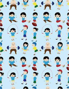 Cartoon Sport People Seamless Pattern Royalty Free Stock Image